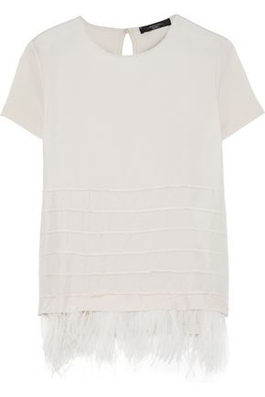 WEEKEND MAX MARA Sella feather-trimmed satin and jersey top
