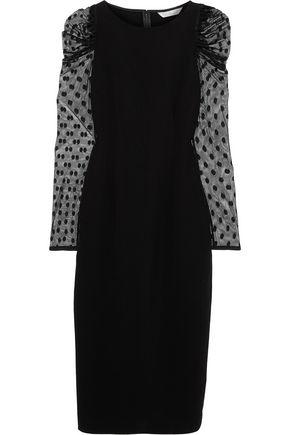 RACHEL ZOE Harper ruched point d'esprit-paneled crepe midi dress