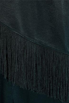 RACHEL ZOE Parker fringe-trimmed layered satin jumpsuit