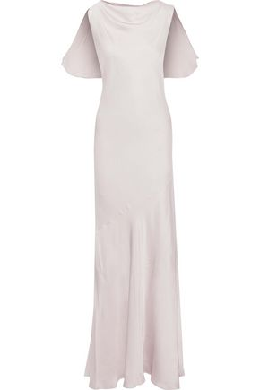 RACHEL ZOE Ami ruffle-trimmed hammered-satin gown