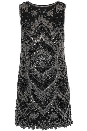 ALICE + OLIVIA Clyde bead-embellished georgette mini dress