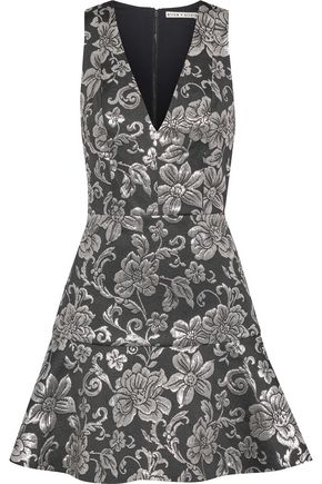 ALICE + OLIVIA Marleen fluted metallic brocade mini dress