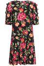 DOLCE & GABBANA Embellished floral-print crepe dress