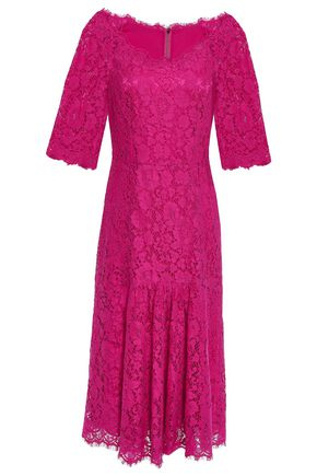 DOLCE & GABBANA Fluted corded lace midi dress