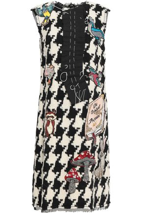 DOLCE & GABBANA Embellished houndstooth virgin wool-blend tweed dress