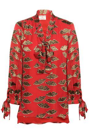 ALICE + OLIVIA Pussy-bow leopard-print fil coupé georgette blouse