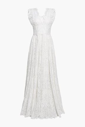 DOLCE & GABBANA Pleated cotton-blend corded lace gown