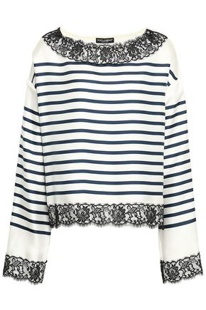 DOLCE & GABBANA Lace-trimmed striped silk-twill top