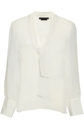 ALICE + OLIVIA Tie-neck silk crepe de chine blouse
