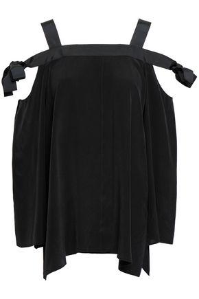 AMANDA WAKELEY Cold-shoulder grosgrain-trimmed washed-silk top