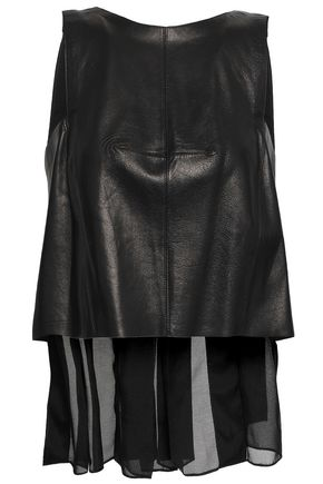 AMANDA WAKELEY Pleated georgette-paneled leather top