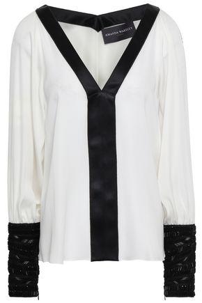 AMANDA WAKELEY Cutout two-tone silk blouse