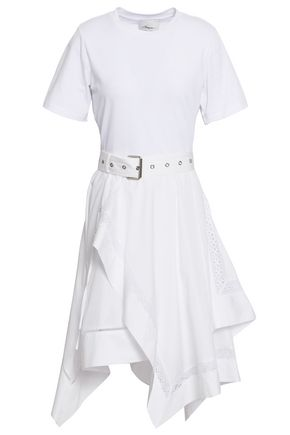 3.1 PHILLIP LIM Asymmetric belted cotton-jersey and poplin dress