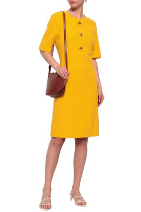 MICHAEL KORS COLLECTION Button-embellished wool-blend crepe dress