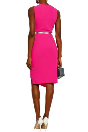 MICHAEL KORS COLLECTION Asymmetric gathered wool-blend crepe dress