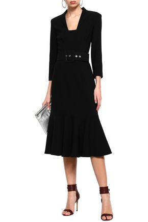 MICHAEL KORS COLLECTION Fluted belted wool-blend crepe midi dress