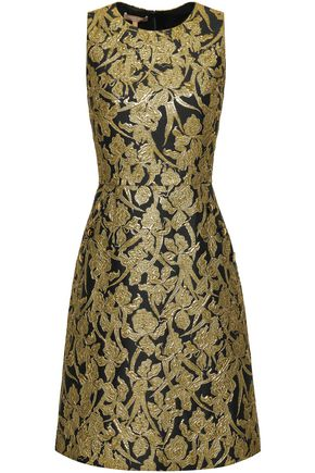 MICHAEL KORS COLLECTION Flared metallic brocade dress