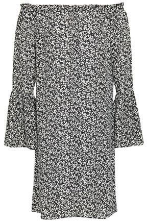 MICHAEL KORS COLLECTION Off-the-shoulder floral-print silk-crepe mini dress