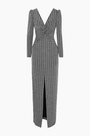 RACHEL ZOE Nava twist-front metallic ribbed-knit gown