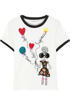 ALICE + OLIVIA Rylyn embroidered cotton-jersey T-shirt