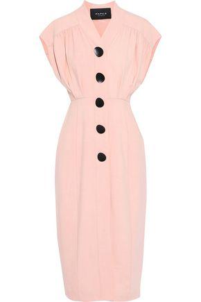 PAPER London Button-embellished denim midi dress