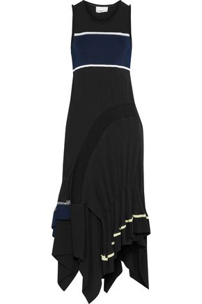 3.1 PHILLIP LIM Layered georgette, crepe and ribbed-knit midi dress