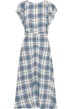 PAPER London Dutch ruched tie-dyed stretch-cotton midi dress