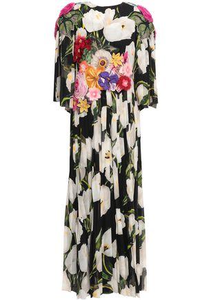 DOLCE & GABBANA Appliquéd floral-print silk-chiffon maxi dress