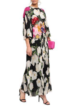 a1b9d4e5 DOLCE & GABBANA Appliquéd floral-print silk-chiffon maxi dress