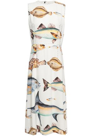 DOLCE & GABBANA Button-embellished printed crepe midi dress