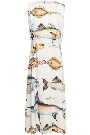 f3b65fc5065 DOLCE   GABBANA Button-embellished printed crepe midi dress