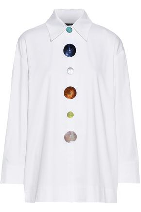 PAPER London Madonna tie-back button-detailed cotton-blend poplin shirt