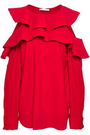 OSCAR DE LA RENTA Layered mesh maxi dress