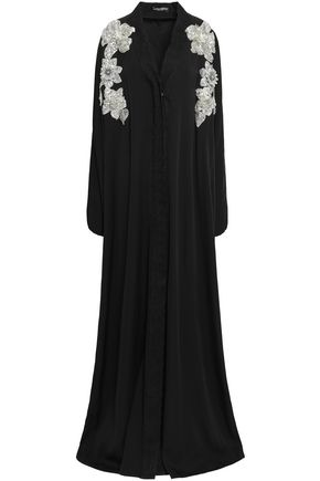DOLCE & GABBANA Lace-trimmed appliquéd stretch-silk gown