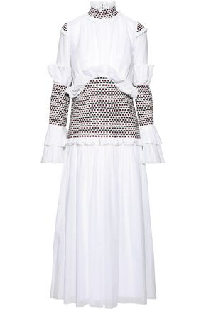 ROSIE ASSOULIN Ruffle-trimmed embroidered cotton-gauze maxi dress