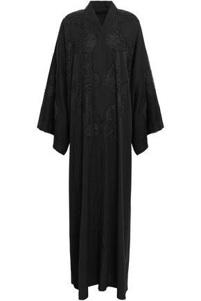DOLCE & GABBANA Lace-paneled silk-blend crepe maxi dress