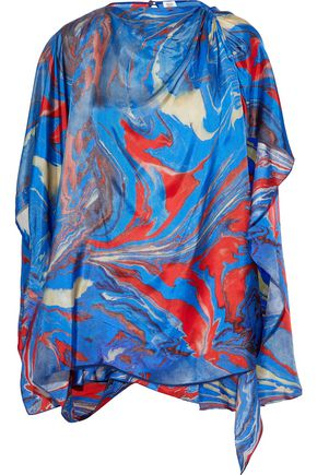 ROSIE ASSOULIN Draped printed satin-twill blouse