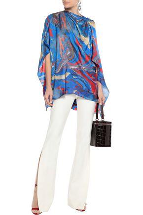 Rosie Assoulin Woman Draped Printed Satin-Twill Blouse Blue