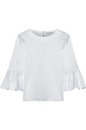 ALICE + OLIVIA Bernice fluted satin-crepe top