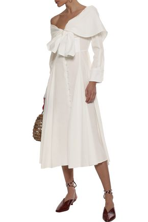 ROSIE ASSOULIN Booby Trap off-the-shoulder tie-front cotton-blend poplin midi dress