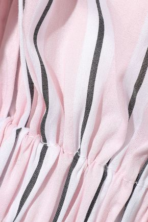 MILLY Off-the-shoulder striped cotton and silk-blend poplin top