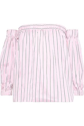 Off The Shoulder Striped Cotton And Silk Blend Blouse by Milly