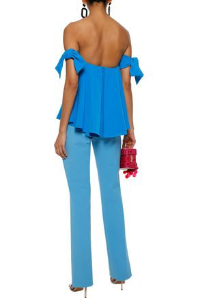 MILLY Jade off-the-shoulder knotted cady top