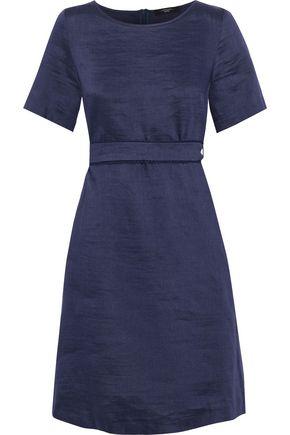MAX MARA Spoleto belted linen and silk-blend dress