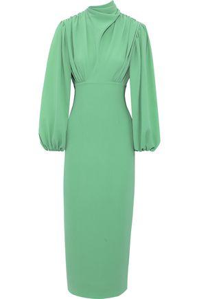 EMILIA WICKSTEAD Niamh gathered stretch-crepe midi dress