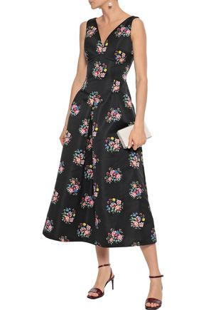 EMILIA WICKSTEAD Bloom pleated floral-print satin midi dress