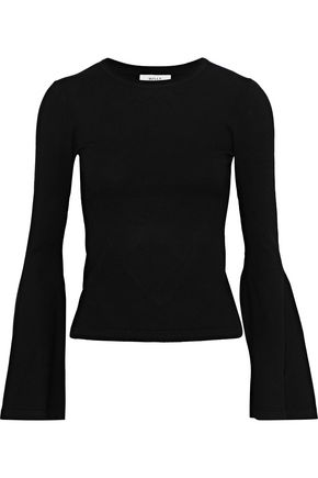 MILLY Fluted stretch-knit sweater