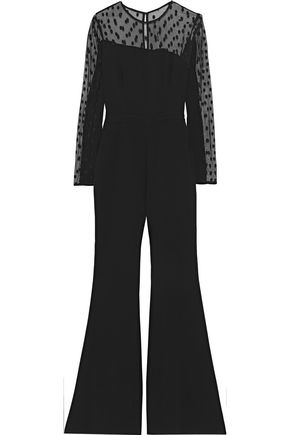 RACHEL ZOE Amber point d'esprit and crepe jumpsuit