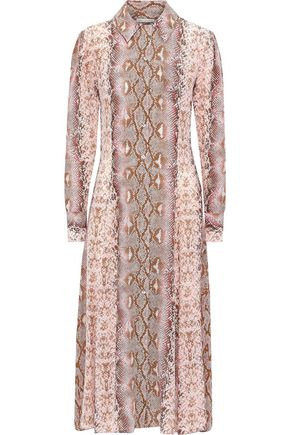 EMILIA WICKSTEAD Lucinda snake-print silk crepe de chine midi shirt dress