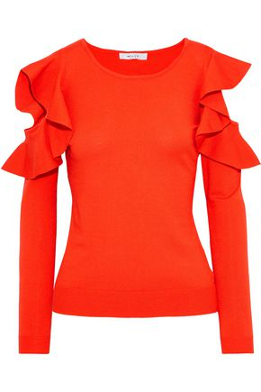 MILLY Cold-shoulder ruffled knitted top